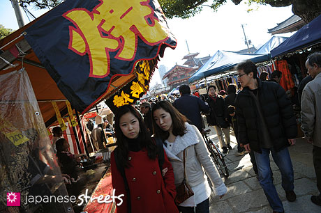 Tourists at Japanese temple market