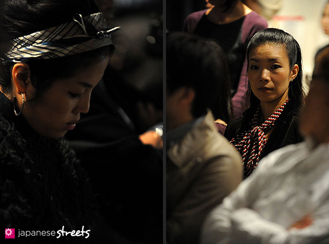111021-0787-111021-0792: Visitors wait for a show to start at the Japan Fashion Week in Tokyo