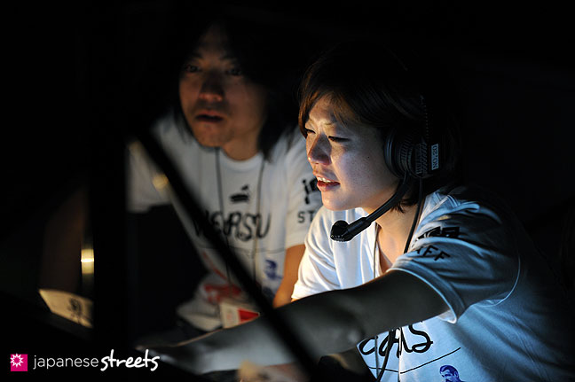 111022-3981: Backstage staff members during the Japan fashion Week in Tokyo
