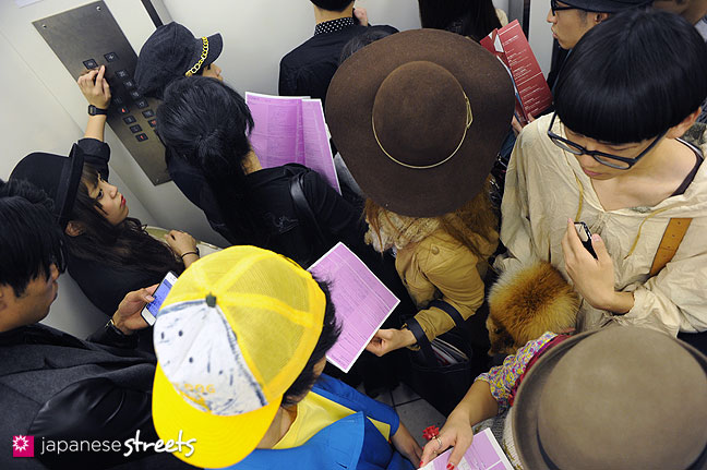 111103-5904: Crowded elevator at the Bunka Fashion College in Tokyo