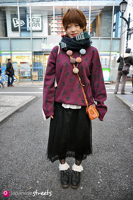 120303-7431: Japanese street fashion in Harajuku, Tokyo (Flowers, COLLECTIF, LACOSTE, MCM)