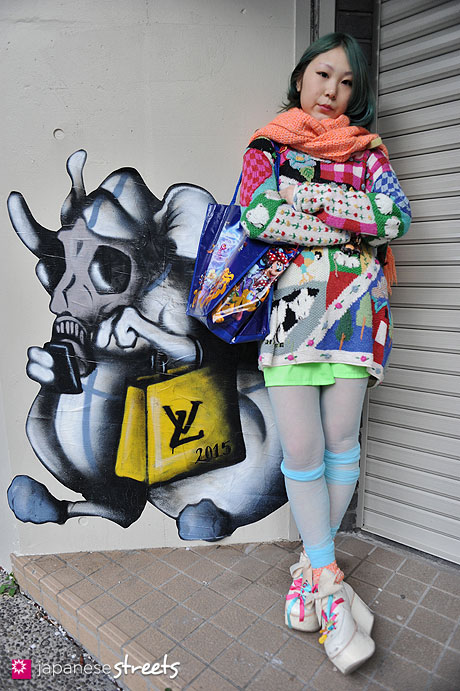 120405-8495: Japanese street fashion in Harajuku, Tokyo (PEEK-A-BOO, HAND-KNIT, Tokyo Bopper, Disney, ALTER EGO)