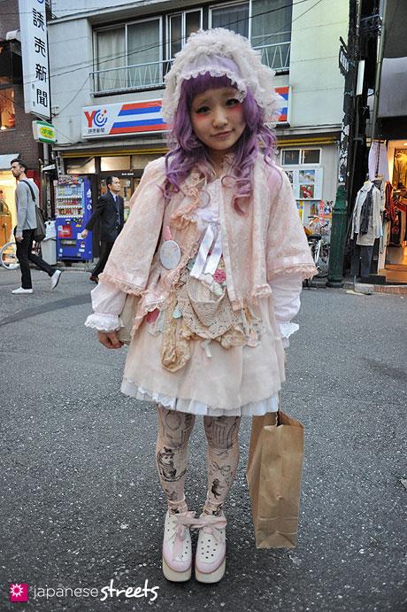 120419-1278: Japanese street fashion in Harajuku, Tokyo (gris, Nude Buffalo, Grimoire, Kinji, Tokyo Bopper, SPANK!, fur fur)