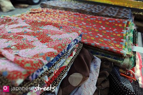 Kimono material at Japanese temple market