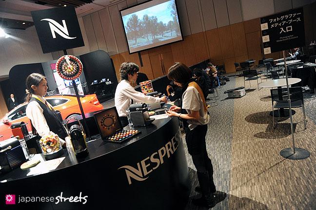 111017-5728: Espresso bar at the Japan Fashion Week Media Lounge