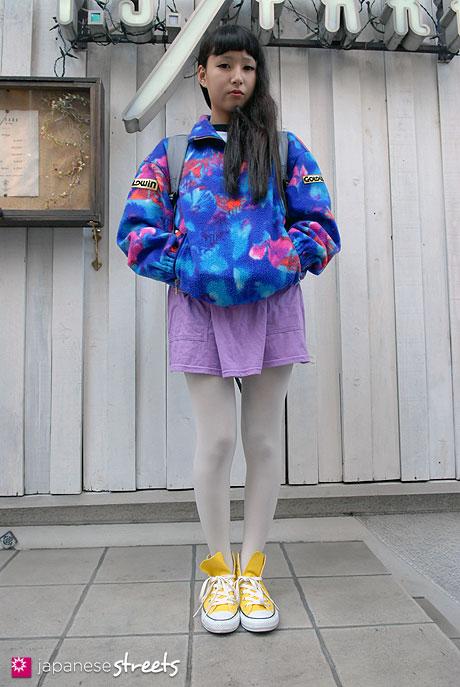111113-6897-AY: Japanese street fashion in Harajuku, Tokyo: LIMCODE, Goldwin, American Apparel, Converse