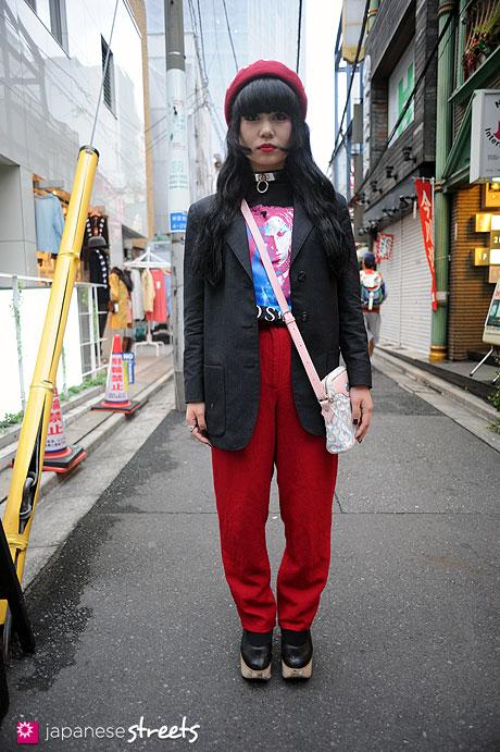 111112-8338: Japanese street fashion in Harajuku, Tokyo: Shima, agnès b., X-Japan, Moschino, Vivienne Westwood