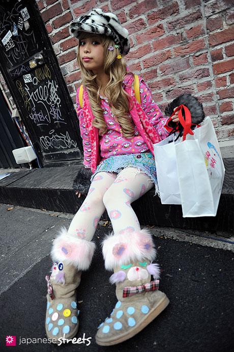 120101-2157: Japanese street fashion in Harajuku, Tokyo (Bunkaya, Girl Connection, Wasabi & Ginger, Swimmer, Candy's, 6%DOKI DOKI, Vivienne Westwood)