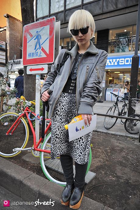 120406-8868:  Japanese street fashion in Harajuku, Tokyo (Boy, Alexander McQueen, Emoda, Vivienne Westwood, NIKE, H&M)